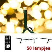 123led kerst ledverlichting 50 lampjes warm wit met afstandsbediening lko00297