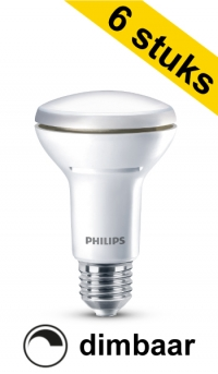 philips aanbieding 6x philips e27 led lamp r63 reflector dimbaar 57w 60w