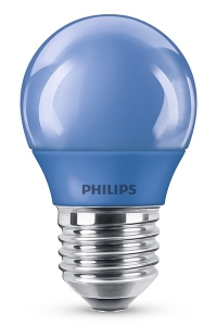 Philips e27 blauw gekleurde led lamp kogel 3 1w philips for Gekleurde led lampen e27