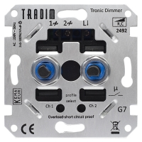 Tradim 2492HP LED tronic duo dimmer 2x 5-100W (Fase Afsnijding)  LDR04009