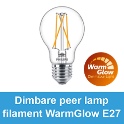 Dimbare peer lamp filament WarmGlow E27
