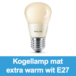 Kogellamp mat extra warm wit E27