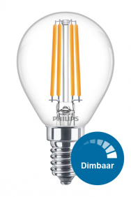 Dimbare kogellamp led filament E14