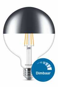 Dimbare kopspiegel bollamp led filament E27