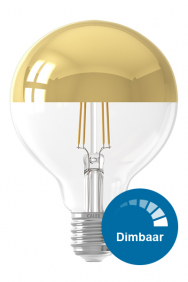 Dimbare kopspiegel gouden bollamp led filament E27